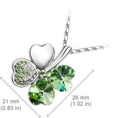 18K White Gold Plated, Emerald Green Love Hearts Four Leaf Clover Crystal Elements, Fashion Pendant Necklace and Stud Earrings Set by UPCO Jewellery (Image #1)