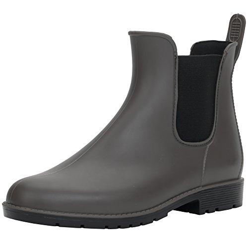 Hellozebra Anti-Slip Ladies' Rain Boots PVC Boots Fashion Rain Shoes Elastic Type Shoes Women's Boots 8 B(M) US Grey by Hellozebra
