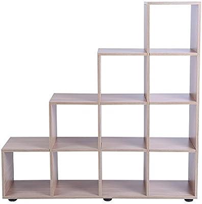 EBTOOLS Estantería escalera con 10 compartimentos, estantería de libros, mueble de almacenamiento para oficina, salón o dormitorio: Amazon.es: Hogar