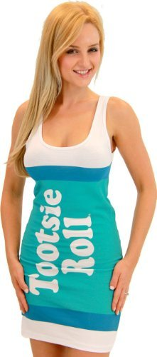 Tootsie Roll Fruit Rolls Candy Vanilla Aqua Costume Tank Dress (Juniors X-Large) -