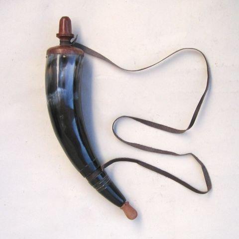 ITDC Reproduction Powder Horn - Civil War, Re-Enactment, Black Powder - Mountain Man Reenactment (Manhattan Flask)
