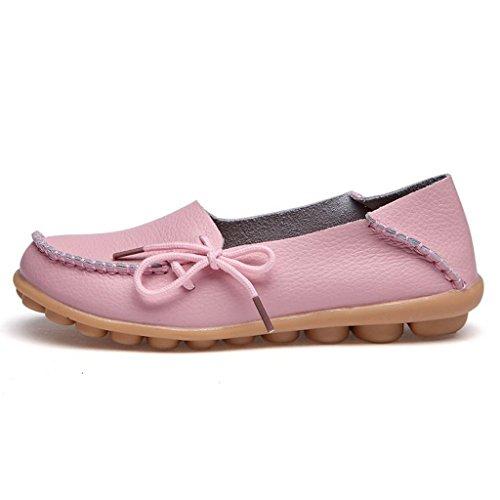 Oriskey Mocasines de cuero mujer Loafers Casual Zapatos Zapatillas Rosa