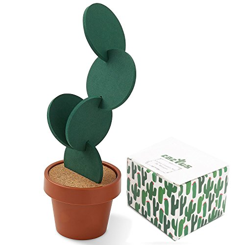 Cactus Coasters Set of 6 with Pot Shaped Holder, Prevents Table Damage and Spill, Gift ideal for Home and Office by Miragee (Image #5)