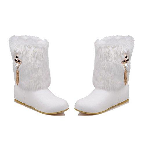 AgooLar Damen PU Rund Zehe Niedriger Absatz Ziehen auf Rein Stiefel Weiß