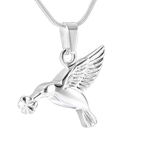 Kai Urns Humming Bird with Hibiscus Flower Remembrance Urn Memorial Necklace for Ashes