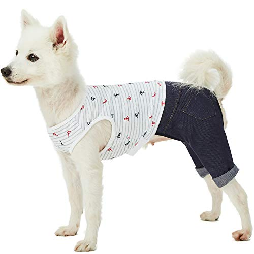 - Blueberry Pet 2019 New Sea Lover Nautical Striped Cotton Blend 4 Legged Onesie Dog Jumpsuit Shirt with Denim Colored Pants, Back Length 12