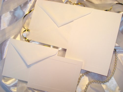 50 Set Wedding or Party Invitation Kit, Blank, with Panel Card, Response Cards & Envelopes. Printable Do It Yourself Wedding Invitations. White, Cards with Raised Panel Edging.