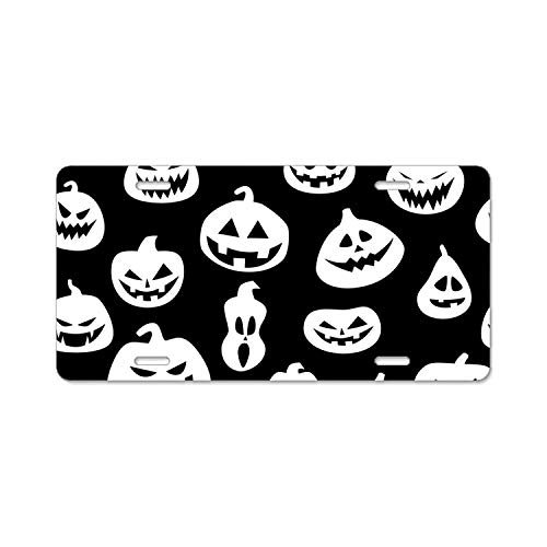 YEX Abstract Halloween pumpkins10 License Plate Frame Car Licence Plate Covers Auto Tag Holder 6