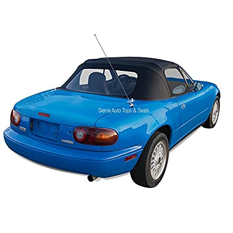 Mazda Miata, 1990-2005 Cabrio Vinyl Complete Convertible Top Replacement with Clear Plastic Window with Rain Rail, Black
