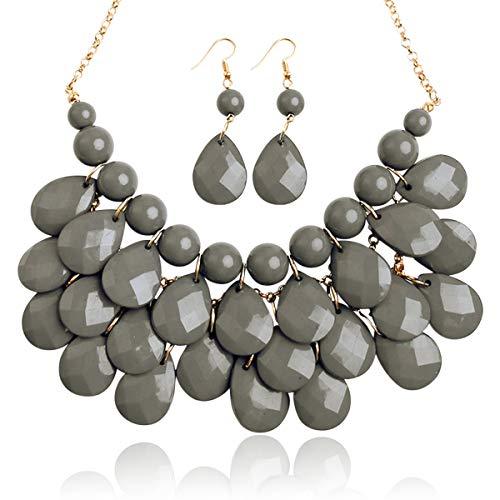 RIAH FASHION Chunky Acrylic Jewel Cluster Floating Bubble Statement Necklace - Teardrop Dangle Layered Bib Collar (Dark Gray)