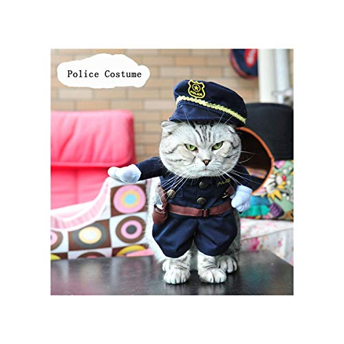 Beans Seven Funny Cat Costume Cowboy/Police/Nurse Suit Cat Clothes Halloween Costume Puppy Clothes Suit Dressing Up Party Clothing for Cats,Police,M