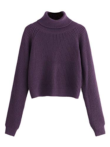Milumia Women Turtleneck Long Sleeves Fall Winter Sweaters Crop Tops Basic Jumpers Purple M (Crop Tops For Winter)
