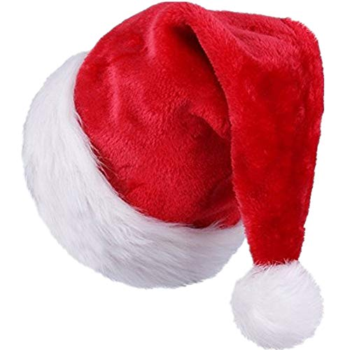 (Christmas Santa Hats for Adults Kids Plush Red Santa Hat with White Trim)