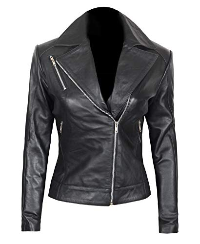 Women Leather Jacket - Black Genuine Lambskin Asymmetrical Motorcycle Leather Jacket   Linda XS -