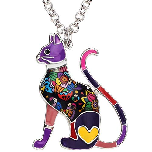 BONSNY Statement Enamel Alloy Chain Cat Necklaces Pendant Original Design Women Girls Jewelry Gift Charms (Purple) ()