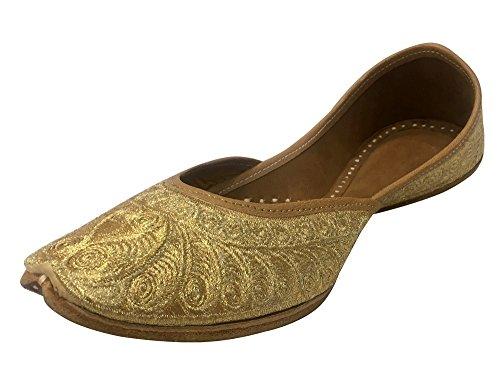 Step n Style Gold Bridal Flats Wedding Shoes Indian Punjabi Jutti Mojari Designer Shoes
