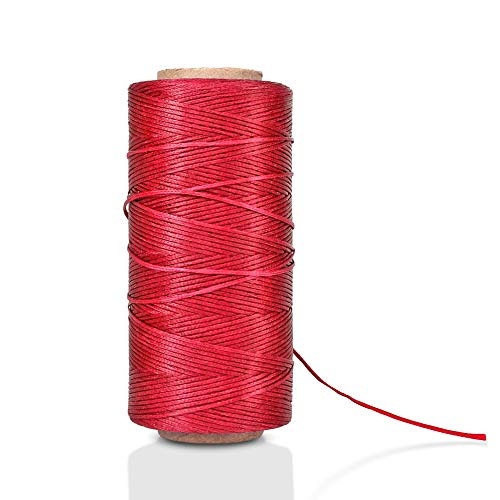 Waxed Thread, Wax String, Coated Cord Heavy Duty Polyester 284Yard 1mm 150D for Bracelets, Leather Craft Stitching Sewing, Book Binding, DIY Handcraft (Red)