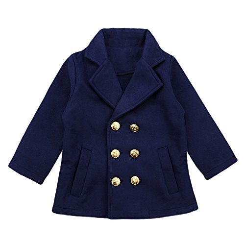 Birdfly Toddler Girls Double Breasted Trench Coat Preppy Peacoat Baby Dress Outwear Jacket Kids Fall Winter Clothes (5T, Navy) (All Weather Bunting)