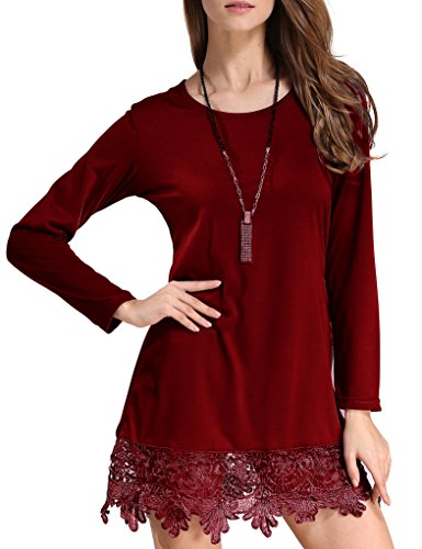 Match Women's Long Sleeve Lace Casual Dress(Medium, BBX-8191 Dark red)