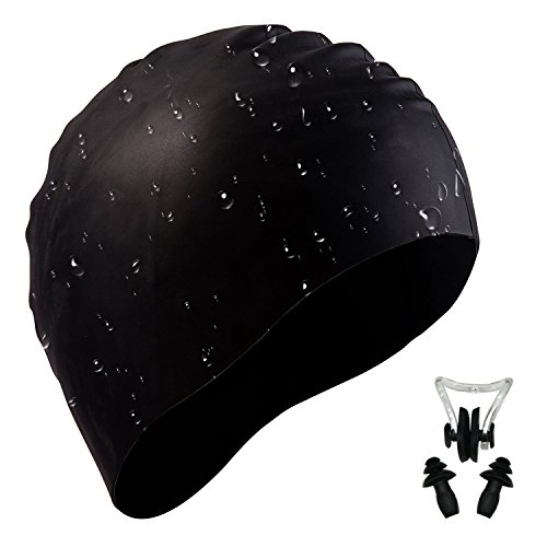 i-Summer Lightweight, Non-Toxic, Flexible and Resilient Silicone Swimming Cap Suitable for All Ages and All Hair Lengths, Also Comes with Nose Clip and Ear Plugs