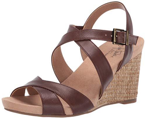 LifeStride Women's Harbor Wedge Sandal Dark tan 7 W US
