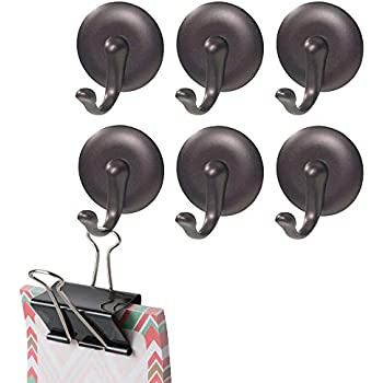 mDesign Plastic Self-Adhesive Single Storage Hook - Wall Mount Organizer for Coats, Hoodies, Hats, Scarves, Purses, Leashes, Bath Towels, Robes - Easy Install, 6 Pack - Bronze