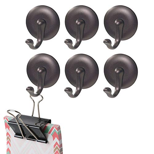 (mDesign Plastic Self-Adhesive Single Storage Hook - Wall Mount Organizer for Coats, Hoodies, Hats, Scarves, Purses, Leashes, Bath Towels, Robes - Easy Install, 6 Pack - Bronze)