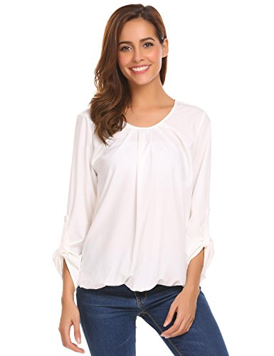 Mofavor Women's Casual Long Sleeve Pleated Blouses Tops T-Shirts White ()