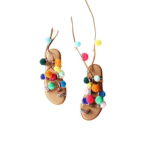 colored Color Flat Sandals Retro Toe 39 Shoes Clip Size Comfortable Female Multi Style With Belt Roman Bohemian Shoes Beach 18twxqS6aq