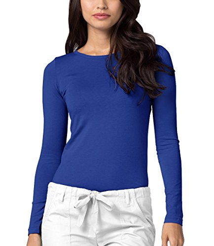 (Adar Womens Comfort Long Sleeve T-Shirt Underscrub Tee - 2900 - Royal Blue - M)