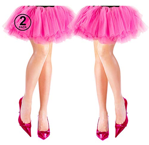 Tigerdoe 80s Costumes for Women - 2 Pack - 80s Accessories - 80s Clothes for Women - Tutus for Women Pink