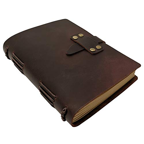 Handcraft Leather Journal with Lined Paper, 120 Sheets Kraft Pages, Leather Strap Closure, Vintage Brown, 5x7 ()