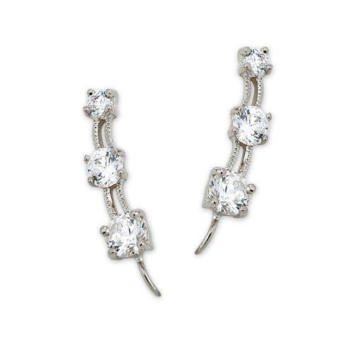The Ear Pin Cubic Zirconia Sterling Silver Earrings