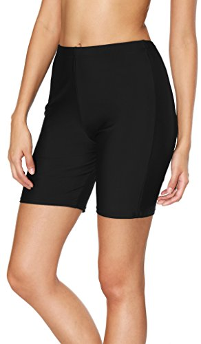 ATTRACO womens swim bottom high waisted bike shorts tummy control black XX-large