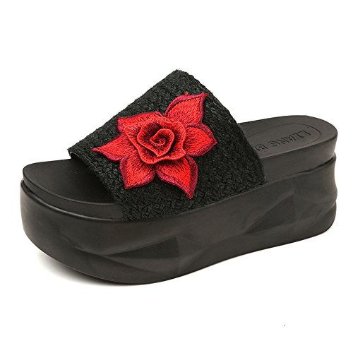 Women's Paillette Platform High Heel Sandals Simple Slippers(Black-234/3.5 B(M) US Women)