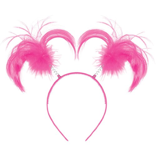 Amscan Feathers & Ponytails Headband Costume Party Headwear Accessory, Pink, Plastic, 5