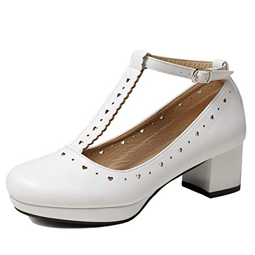 (getmorebeauty Women's Vintage Shoes Retro Heels T-Straps Block Mary Janes Lolita Shoes (8 B(M) US, White) )