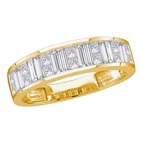 - 14kt Yellow Gold Womens Princess Baguette Channel-set Diamond Wedding Band 1/2 Cttw - Size 7
