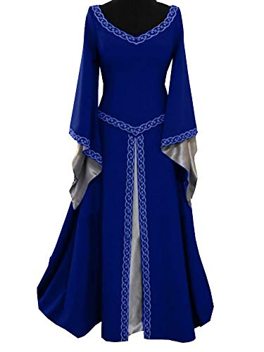 Younsuer Women Medieval Dress Lace up Vintage Floor