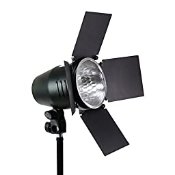 LimoStudio 150 Watt, JDD Frost Halogen Bulb Barn Door Lamp with Reflector, Light Stand Tripod, 4 inch Lamp Diameter, On/Off Switch, E26 Standard Base, Continuous Lighting Photo Video Studio, AGG2033