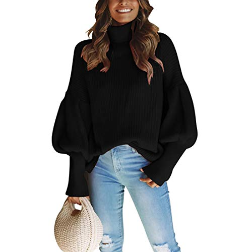 Black Lantern Sleeve - MOLFROA Womens Loose Turtleneck Lantern Sleeve Solid Color Pullover Sweater (L,Black)