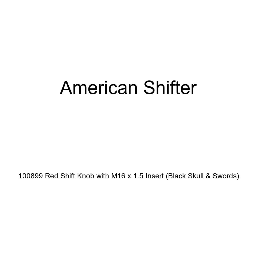 American Shifter 100899 Red Shift Knob with M16 x 1.5 Insert Black Skull /& Swords