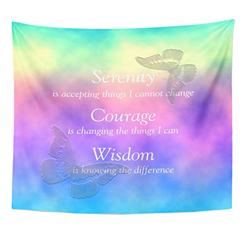 (Semtomn Tapestry Artwork Wall Hanging Colorful Butterfly Rainbow Butterflies Serenity Prayer Multi Colored Courage 50x60 Inches Home Decor Tapestries Mattress Tablecloth Curtain Print)