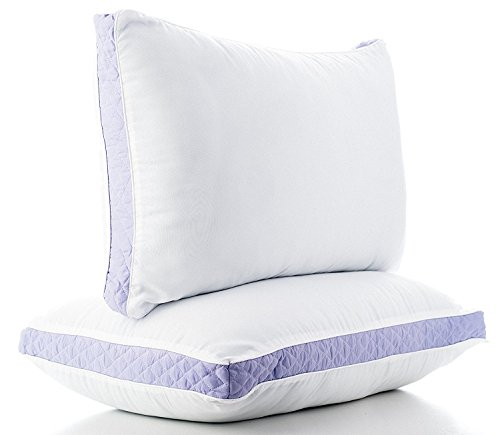 Gusseted Quilted Bed Pillows for Sleeping (Queen, 2 Pack) - Hypo Allergenic Extra Plush, High Loft Premium Quality Pillows - Proprietary Blend 33 Fill is Made in the USA (Lavender) (Pillow Lavender Quilted)