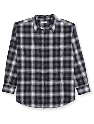 Amazon Essentials Men's Big & Tall Long-Sleeve Plaid Flannel Shirt, Black Ombre, 4X Tall