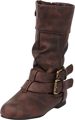 Cambridge Select Girls' Wraparound Strappy Buckle Slouch Flat Mid-Calf Boot (Toddler/Little Kid/Big Kid),11 M US Little Kid,Brown PU