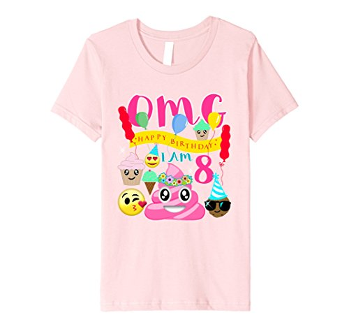 Pink Ride A Unicorn Child Costumes (Kids Pink Poo Emoji Poop Birthday Shirt 8th Party 8 Years Old 10 Pink)