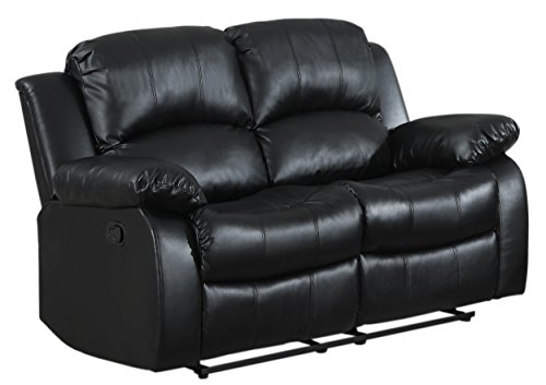 Loveseat Rustic Leather (Homelegance Double Reclining Loveseat, Black Bonded Leather)