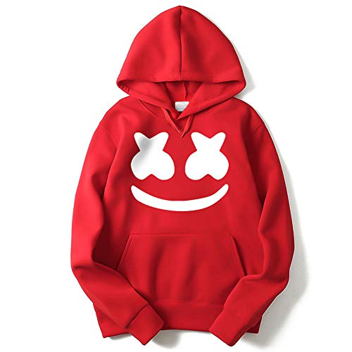 DJ Rock Hoodie Outfit Uniform Suit Smile Face Hooded Sweatshirt for Teens Youth Men Women (Red, L/Height 5'74)