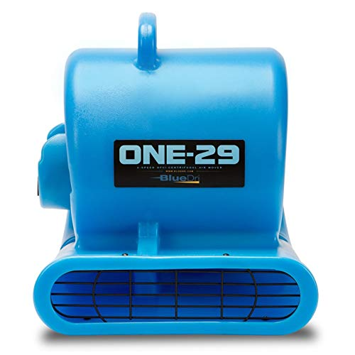BlueDri One-29 1/3 HP High Velocity Heavy Duty Portable Air Mover Floor Carpet Dryer Blower Fan for Water Damage Equipment Restoration, Blue (Industrial Portable Fan)